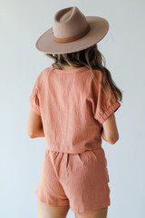 Linen Shorts in Tan Back View