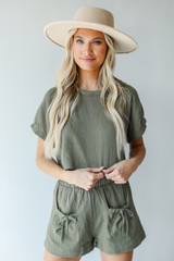 Linen Top in Olive Front View