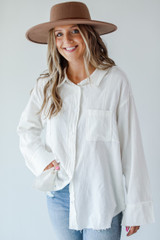 White - Model wearing a Linen Button-Up Blouse