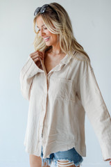 Linen Button-Up Blouse in Tan Side View