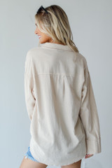 Linen Button-Up Blouse in Tan Back View