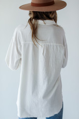 Linen Button-Up Blouse in White Back View