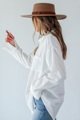Linen Button-Up Blouse in White Side View
