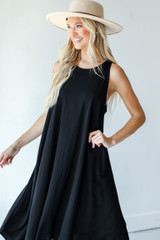 Tapered Midi Dress in Black Side View
