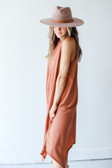 Tapered Midi Dress in Rust Side View
