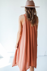 Tapered Midi Dress in Rust Back View