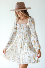 White - Smocked Floral Dress from Dress Up