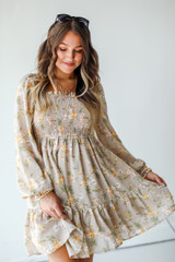 Taupe - Model wearing a Smocked Floral Dress