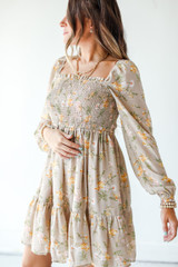 Taupe - Dress Up model wearing a Smocked Floral Dress