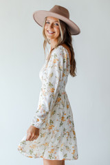 Smocked Floral Dress in White Side View