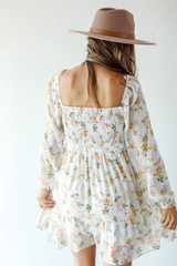 Smocked Floral Dress in White Back View