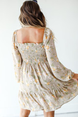 Smocked Floral Dress in Taupe Back View