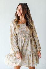 Smocked Floral Dress in Taupe Front View