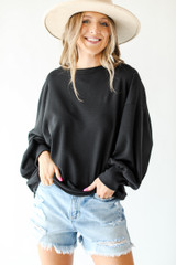 Black - Oversized Waffle Knit Pullover from Dress Up