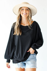 Model wearing an Oversized Waffle Knit Pullover