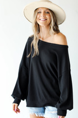 Oversized Waffle Knit Pullover Front View