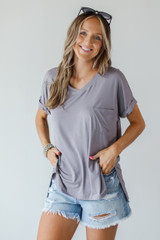 Mocha - Everyday Jersey Tee Front View on model