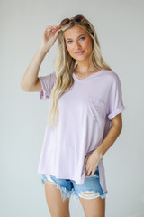 Lavender - Model wearing an Everyday Jersey Tee with denim shorts