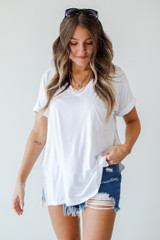 White - Model wearing an Everyday Jersey Tee with sunglasses