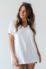 White - Dress Up model wearing an Everyday Jersey Tee with sunglasses