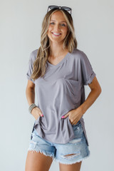 Everyday Jersey Tee in Mocha Front View