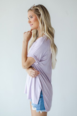 Everyday Jersey Tee in Lavender Side View