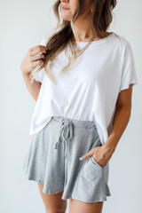 Close Up of Lounge Shorts in Heather Grey