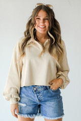 Taupe - Model wearing a Collared Pullover
