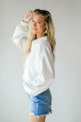 Collared Pullover in White Side View