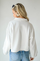 Collared Pullover in White Back View