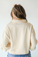 Collared Pullover in Taupe Back View