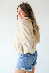 Collared Pullover in Taupe Side View
