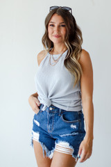 Grey - Dress Up model wearing an Everyday Ribbed Tank