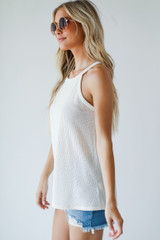 Everyday Ribbed Tank in Ivory Side View