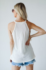 Everyday Ribbed Tank in Ivory Back View