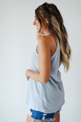 Everyday Ribbed Tank in Grey Side View