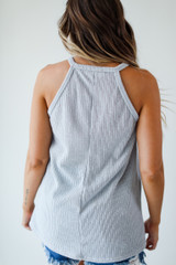 Everyday Ribbed Tank in Grey Back View