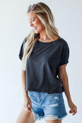 Charcoal - Cropped Tee