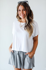 White - Model wearing a Cropped Tee