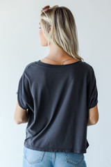 Cropped Tee in Charcoal Back View
