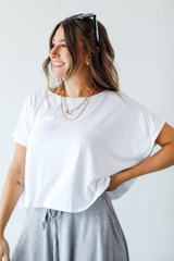 Cropped Tee in White Side View
