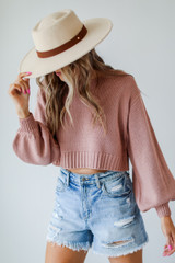 Mauve - Model wearing a Cropped Sweater