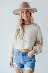 Ivory - Cropped Sweater Front View