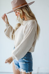 Ivory - Cropped Sweater Front View on model