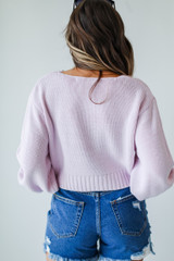 Cropped Sweater in Lavender Back View