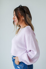 Cropped Sweater in Lavender Side View