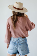 Cropped Sweater in Mauve Back View