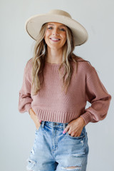 Cropped Sweater in Mauve Front View