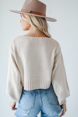 Cropped Sweater in Ivory Back View