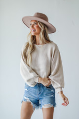 Cropped Sweater in Ivory Front View
